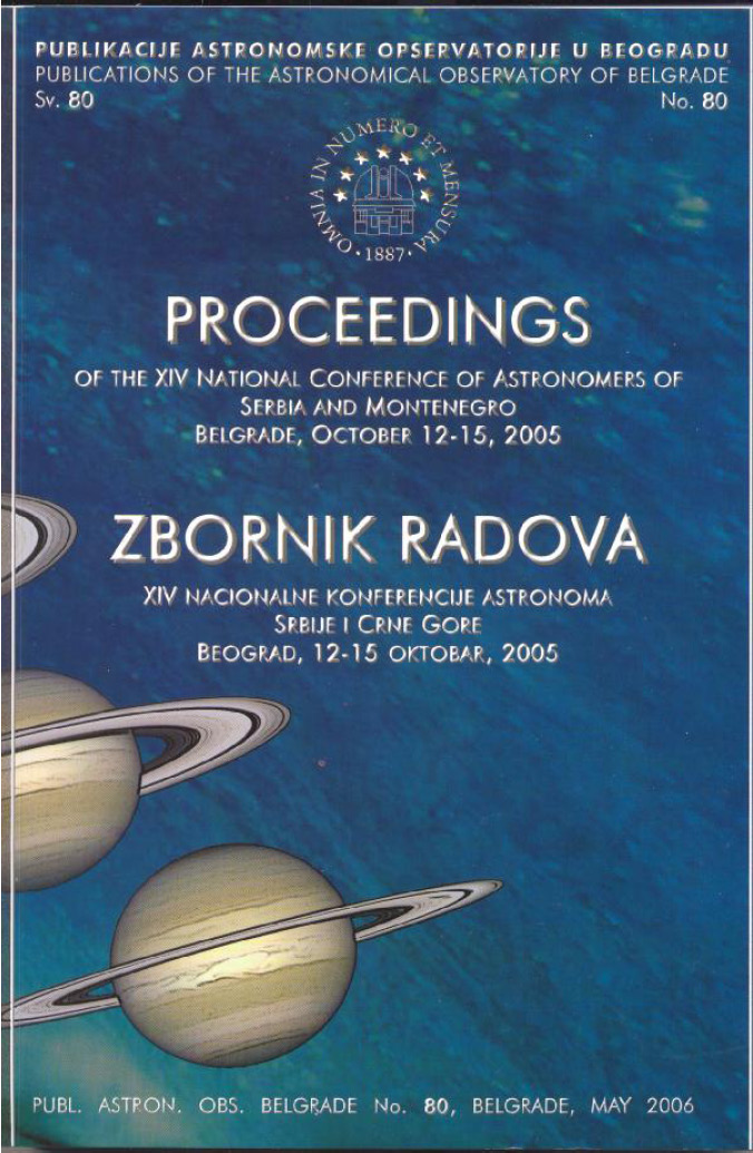 Proceedings of XIV  NATIONAL CONFERENCE OF ASTRONOMERS OF SERBIA AND MONTENEGRO